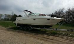 29 ft cabin cruiser with twin 350s and 4000 watt generator. Sleeps 6. Has fridge, microwave, flatscreen TV, stove, AC/ Heater, bathroom. Everything works. Comes with triple axle trailer. Has extended swim platform which makes this boat 32' total. Boat is
