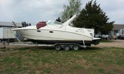 1997 Larson Cabrio 290=For a faster response please reply with your PHONE NUMBER. Thanks=29 ft cabin cruiser with twin 350s and 4000 watt generator. Sleeps 6. Has fridge, microwave, flatscreen TV, stove, AC/ Heater, bathroom. Everything works. Comes with