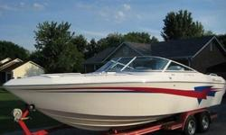 Great boat in excellent condition. Boat includes trim indicators, depth finder, drop out bolster seats, AM/FM CD radio, bimini top, full boat cover, bow cover, filler cushions for bow area, snap in removeable carpet, through hull exhaust, 3 blade SS prop,