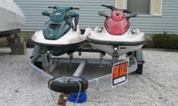 The first green is a 1997 Sea Doo GTX. This watercraft is restored inside and out.Three person watercraft 2 stroke 787cc twin cylinder engine Oil injected Remanufactured engine by SBT with warranty good until 6-2011 New battery 9-2009 Complete fuel system