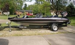 I have a 1997 Stratos 282 DC 18 foot bass boat powered by a 1997 Johnson 150 H.P. FastStrike oil injected motor that pushes the boat to 60m.p.h. with no problem!! The boat is equipped with a Johnson high thrust 24 volt trolling motor, two livewells with