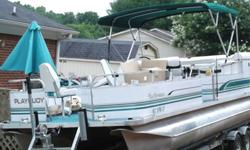 .... 24 foot playbouy pontoon with 2014 quality built tandem axle trailer like new. It has a 3.0 Alfa one motor I/O. The seats and carpet is in good condition no tears or rips. Has custom Cover and custom tent that goes on the front of boat. Has a