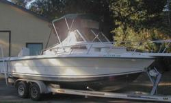 Tow Master Aluminum Trailer with Hydraulic Brakes.Electrical:Dual batteries with isolator switch (1-2-Both-Off)RaymarineL265 Fish Finder/ Depth SounderGarmin GPSmap 545Standard Horizon Eclipse VHFBow lights and removable stern Light2 Bilge pumpsCabin Fan
