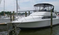 """""""Just One More"""" is a roomy boat which has been well cared for and maintained throughout her life. Topside is direct access to the foredeck with her convenient walk-thru feature. She also features walk-around side decks, large command bridge, with new"""