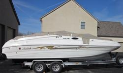 1998 MARIAH 244 JUBILEE DECK BOAT.GREAT LAYOUT. WILL ACCOMODATE UP TO 12 PEOPLE. ALL ALUMINUN LOADMASTER TRAILER WITH NEW TIRES.· 5.7L Mercruiser w/ Bravo drive and Stainless Steel Prop 250 hp· Stainless Steal Bimini Top· Seats 12 Comfortably· Swim