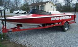 """1998 Moomba Boomerang Boat. Very nice ski boat, runs well! Small block 350. 5 Person or 680 pounds.Has a ski bar in center of boat for pulling. Interior looks great, one small 1/2"""" tear in front seat, very minor. paint is very shiny and shows well, No"""