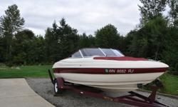 We have owned this boat since it was new. It has a powerful 4.3 liter motor with only 205 hours. Includes a stainless steel Ballistic propeller, a Garmin fish finder and depth gauge, brand new trailer wheels, a cassette and FM stereo, full set of dash