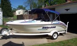 1998 SEADOO 1800 SPORTSTER.TWIN ENGINE 18? 7 PASSENGER BOAT.with ShoreLander Trailer.Trailer surge brakes.Trailer has bearing buddies and matching spare tire.Hummingbird HDR600 digital depth finder.Horizon Intrepid GX1260S 2 way marine radio.Clarion