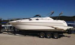 28' Searay with 7.4 Mercruiser. Sleeps 6 with refrigerator, electric hot water heater (new 2016), microwave, stove, dinette table, bathroom with shower. Bottom paint (new 2016), AM/FM Bluetooth radio and 6 speakers (new 2016), remote spotlight, compass,