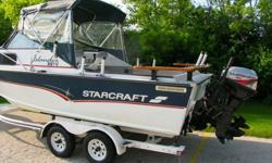 You cant find these big starcrafts anymore. There is alot of aluminum in this boat.1998 Starcraft Islander 221V4.3 GM w/ mercruiser I/O.NMMa starcraft dual axle trailer w/ spare.Canvas: bimini top, side curtains and an aft drop curtain.2 captains chairs,