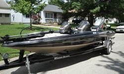 This is a 1998 Triton TR-19 Dual Console Fiberglass bass boat. It has a Mercury Mariner 150hp V6 Engine (direct fuel and direct oil injection system). The engine only has about 325 hours on it. Brand new spark plugs and impeller only a few weeks ago (also