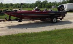 This boat has no known damage or cracks beyond cosmetic wear and tear. It has Hi -Jacker jack plate,Hot Foot foot throttle, 3 bank 20 amp onboard charger, hydraulic steering, four blade stainless steel prop with spare three blade stainless prop, Motor