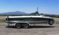 1999 CALABRIA SKI BOAT SPORT COMP XTS W/ TRAILER.This boat was used very little, he got married had some kids and next thing you know, no time for the boat. Now a little about the boat, the engine only has 186 hrs on it, over ten years that's 18.6 hrs a