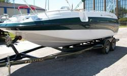 BEAUTIFUL 1999 CROWNLINE DECK BOAT.5.0 EFI Inboard with approx. 150 hours.Bravo 3 Mercury Out Drive with Duo Prop.Dual Batteries with Switch Over.Bilge Pump.Bilge Blower.Porta Potti Toilet and Hand Sink ( Never used ).Front and Back Concealed Telescopic