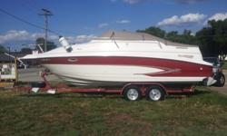 Includes full camper cover with screens, Bimini top, swim platform with transom cover, compass, walk though windshield, tv with dvd player, stereo with cd player with built in satellite for Sirius Radio and Ipod/mp3 compatible, rear remote for sound