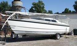 DECK HARDWARE:Steering wheel and pedestalHinged steering seat for easy transom accessForedeck hatchAnchor lockerOutboard well for 5 to 50 hp outboardsCockpit storage lockers for 2 fuel tanksMooring cleats2 Lewmar jib winches, 1 handleAnodized mast and