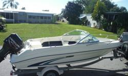 Year: 1999 Use: Fresh WaterMake: SEARAY Engine Type: Single OutboardModel: 180 DUAL CONSOLEEngine Make: Mercury EngineType: Dual Console Engine Model: 135 HP OPTIMAXLength (feet): 18 Primary Fuel Type: GasBeam (feet): 7.6 Fuel Capacity: 11 - 20