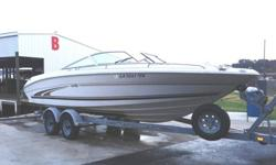 This is a beautiful 23 foot family boat with trailer! Great for enjoying watersports or cruising. Comfortably and safely holds 10. Am/FM cassette sound system, Bimini top. The boat is in good shape with a few minor cosmetic imperfections. Ready to help