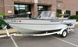 1999 Starcraft Fishmaster 176 with 125 hp Mercury Outboard.With its deep freeboard, high transom, full-width aft cockpit wall for added safety, and beefy Power-Trac Hull, the Starcraft Fishmaster 176 DC is specially built to be the last boat on the water.