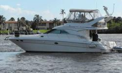 2001 Sea Ray 40 SEDAN BRIDGE Only 352 hours on her 3126 Caterpiller engines, cherry interior, new canvas and Toshiba flat screen in salon. Very well maintained and serviced regularly by an owner who cares! Tender included. Origianlly a Chesapeake Bay boat