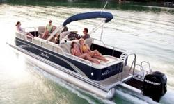 """Construction ¨ 24' Length - 8 1/2' Wide ¨ Three ? 25"""" diameter pontoons ¨ Heavy duty 3"""" rub rail with bumper ¨ Heavy duty C-channel crossbeams ¨ Corner castings all four corners ¨ Extra heavy duty motor pod double bolted with 3/8"""" SST bolts attached to"""