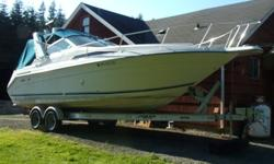 This is a very nice boat, Brand new 2012 load rite aluminum I beam trailer $3500 extra. All new cuddy upholstery. Has garmin radar chart plotter gps, full head with shower, refrigerator, Heated cabin, dual heat stove, sink, pressure water system, 6 gallon