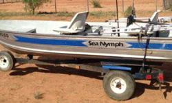 Not sure of year but it is a 12 ft Sea Nymph, I am posting this from Afghanistan for my husband in Hereford or if I was there I could look up year. We have had it for 2 yrs and it is perfect for Parker and Patagonia. The canopy is awesome for beating the