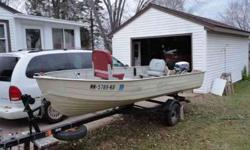 14' fishing boat with NO leaks. Trailer with spare tire, depth finder and fifteen horsepower Evinrude motor included. Motor well taken care of. 651-301-9740Listing originally posted at http