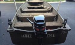 Aluminum 14 ft. Starcraft Shallow-V, w/ trailer & 9.8 merc. Ss tiller handle. Clean good running motor with new water pump- serviced at brownies. Fuel line and tank included. Boat is mud Brown (Great camo for hunting rivers and reservoir banks) w/