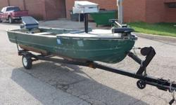 14' V hull, w/ trailer, 7.5 hp Seaco Outboard, Minnkota 40lb foot control trolling motor, fish finder, 2 swivel seats, new floors, casting deck on front all new indoor/outdoor carpet, bilge pump, battery box, new wiring in boat everything on toogle