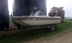 15 ft. Capri Starcraft with trailer and boat cover. Motor is a Mercury Thunderbolt 850 and runs fine.. Lights, horn, cigarette lighter all work, no holes in the seats. No cracks in the windshield. Comes with 2 gas tanks and a buldge pump, all working.