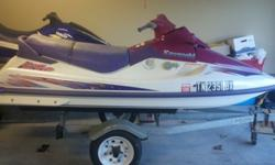 """I have a 1996 Purple Kawasaki JT750-B2 STS for sale. It is a 11' three seater ski with a nice trailer that fits a 2"""" ball hitch. Garage stored. Never been in salt water, only fresh water lakes. The ski runs great. It is a 2 stroke engine. It only has"""