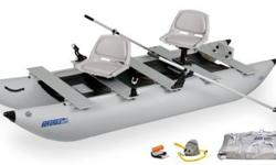 """The 375 FoldCat is a two person fishing boat that will fit into a cars trunk. It's light weight and can be launched anywhere. With one raised seat it is easy to get into the perfect position to catch that """"Big one"""". plus the reliable Minn-Kota Motor or"""