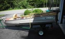 Sell-Barter or Trade 12foot Aluminum v hall row boat-sea-nymth-- It has a anchor-oars-life jackets--trailer with working lights-brand new---5 horse johnson outboard-with gas line and johnson gas can-recently serviced-strong motor--carpet glued to inside