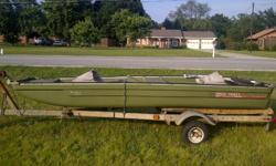 "11'6"" plastic/aluminum hull John Boat, Boat Trailer, Minn Kota Trolling Motor 30lb thrust, and Marine Battery"