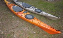 2 wilderness tempest kayaks in fantastic condition ,one is 165 the other 170, both with skegs(retractable rudder) and barely pre-owned (maybe 5 times), brought down from lake Champlain. These kayaks are extremely smooth, stable, and easy to manuever in