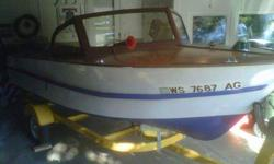 Custom built, Loran depth finder, 35 HP Evinrude Lark Engine. New battery / fuel pump / water pump. Sharp trailer w/ oversized wheels. Be proud to show or use for pleasure. A rare find w/ cover. A bargain at $1,195. Call or email (click to respond)