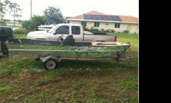 great little project boat, it will be painted and a new floor put in, it has a 50hp Nissan outboard on it, it runs! I need to sell it fast, it comes with trailer. I'm asking 1200$ obo text me at 2396711385 if interested I'm willing to work with you!