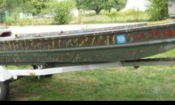 14 ft aluma craft flat bottom boat in great shape with 15 horse johnson runs perfect, comes with trailer, oars,trollie motor.. if interesed call charlie at or email at (click to respond) asking 1,300.00 o/b/o serious inq only please.Listing originally