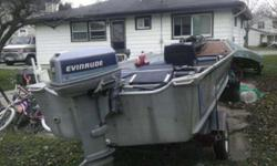 1986 16 1/two feet. Alumacraft boat and trailer for sale. Needs a little TLC. Runs. Has a 48 pound. thrust minkota trolling engine. needs pedal. 25horse Evenrude blue. needs a little cosmetic repair. livewell, counsel, eagle fishfinder. New waterpump. New