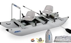 Model 375 14'-0 inflatable fishing pontoon with 3HP motor.Two seats, rod holders, grab/support rail, travel bag, motor is a Game Fisher (by Sears) air cooled auto clutch. Perfect fish hunter combination.