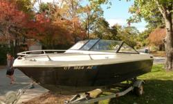 This 1977 19' Steury is in very good, splash it and drive, condition. The cabin has had some work but could be finished. The front seats were done in white vinyl, the side panels in grey carpet, and the floors are newly carpeted. The engine was rebuilt