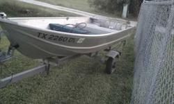 I have a 12 ft v bottom with a honda 7.5 runs well and a galvanize trailer. I will sale the boat and trailer with no motor for $1000.00 or obo call me at 832-262-0061 RandyListing originally posted at http