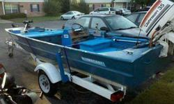 I have a 15.5 feet alumnacraft fishing boat it has all the decking with storage and also a live well and a trolling engine that is foot operated it has two swivel seats and the life jackets also a battery to start the motor the motor is a 35 horsepower