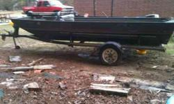 Alumaweld 15' and trailer. Got paperwork on both. Boat is all open in middle would make a great duck boat and has aluminum floor and trolling engine. Trailer is very heavy duty and in attractive shape, only needs new carpet on runners. Boat is solid and