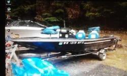Hi i have a bass boat its a nice boat it has a 80 horse mercury motor. Tabs are good with clear title I pre-owned it all summer so i know she runs , she comes with the motor ,a nice trailor, bilge pumps for livewell 2 swivel seats, and storage