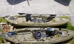 ONE Hobie Mirage Outback Kayak's $1400Put more fish in the boat with the Hobie Mirage Outback.The foot-powered MirageDriveTM system means your fishingpole stays in your hands so you're always ready to set thehook. With its 400-pound capacity, three