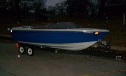 Really have to see to appreciate! Sounds like an antique but looks surprisingly sporty. Runs well. Nice tanning deck on the back of the boat. Carries 6 buy law. Inboard V8 Mercruiser tuned up and ready to get wet!!! Contact Pat at or (click to