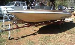 1980 Glastron Carlson CVX-16 Race Boat with a 115hp. Mercury Outboard Motor that has Low Hours. This boat is fast and ready to go. Just needs some new front seats. Comes with a 1980 Calkins Trailer single axle. I will sell motor without boat but it will