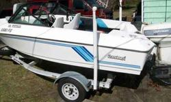 V-Hull, 48 Johnson motor, trailer, trolling motor, life vests, fishing poles etc.